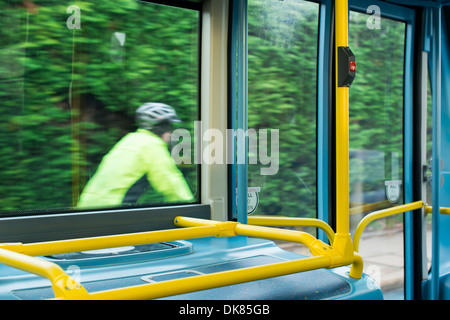 Bus Interior at public transport. Seats in a bus - Stock Photo