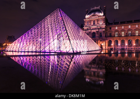 Night scene of the Pyramid entrance of Louvre Museum, Paris. Reflection in the pond - Stock Photo