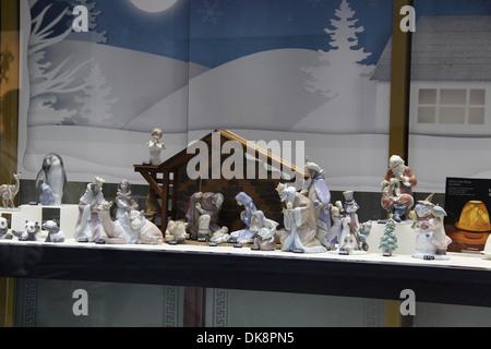 China Nativity Figures in a Dublin Shop Window - Stock Photo