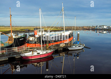 Two disused Clyde tug boats, berthed at the harbour at Irvine, Ayrshire, Scotland, UK, Great Britain. - Stock Photo