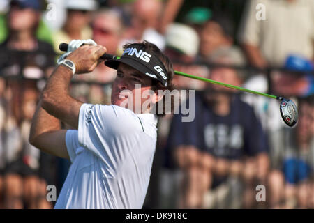 Aug. 5, 2011 - Akron, Ohio, U.S - Bubba Watson watches his tee shot during the second round of the Bridgestone Invitational - Stock Photo