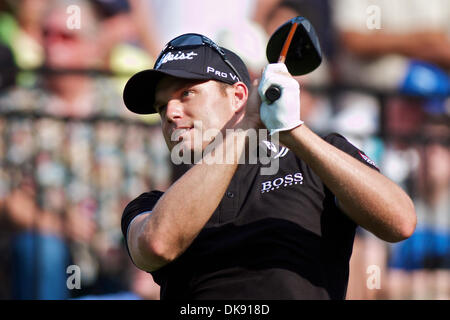 Aug. 5, 2011 - Akron, Ohio, U.S - Nick Watney watches his tee shot during the second round of the Bridgestone Invitational - Stock Photo