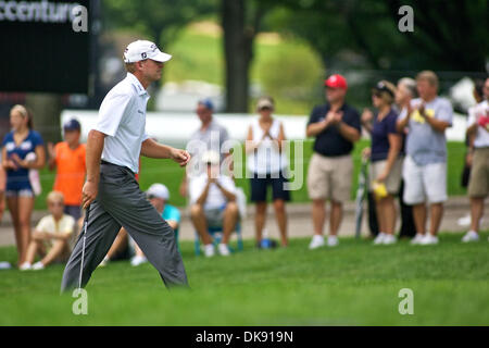 Aug. 5, 2011 - Akron, Ohio, U.S - Steve Stricker approaches the 9th green during the second round of the Bridgestone - Stock Photo