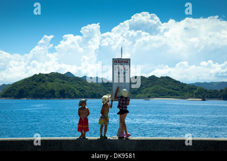 Japanese kids in the countryside - Stock Photo