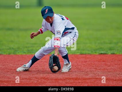 Aug. 13, 2011 - Aberdeen, Maryland, U.S. - Kosuke Morita, of Japan, during the Cal Ripken World Series in Aberdeen, - Stock Photo