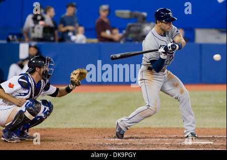 Aug. 29, 2011 - Toronto, Ontario, Canada - Tampa Bay Rays shortstop Sean Rodriguez (1) grounds out in the 9th inning - Stock Photo