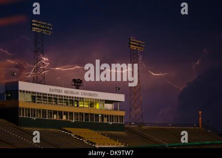Sept. 3, 2011 - Ypsilanti, Michigan, U.S - Dangerous lightning hit approximately 47 minutes prior to the start of - Stock Photo
