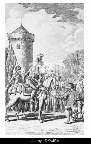 The Maid of Orleans Joan of Arc receiving the Sword of Saint Catherine - Stock Photo