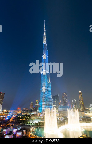 Burj Khalifa tower floodlit in blue during National Day celebrations on 2 1 December 2013 in Dubai United Arab Emirates - Stock Photo