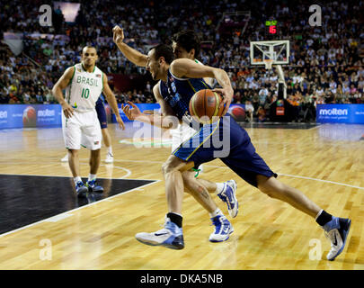 Sept. 11, 2011 - Mar del Plata, Buenos Aires, Argentina - Argentina's MANU GINOBILI as Argentina win the FIBA Americas - Stock Photo