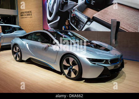 BMW i8 plug-in hybrid electric car at Tokyo Motor Show 2013 in Japan - Stock Photo