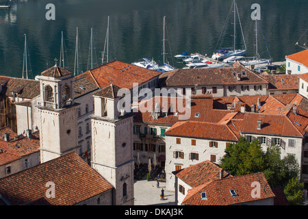 Montenegro, Boka Kotorska (Kotor Bay), view of Stari Grad (Old Town) from St John's Hill - Stock Photo