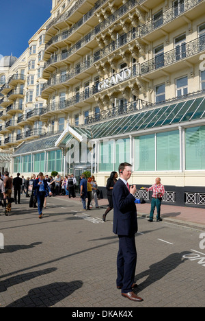 Brighton, East Sussex, England, UK. Grand Hotel - preparations for a media event during the Labour Party Conference, - Stock Photo