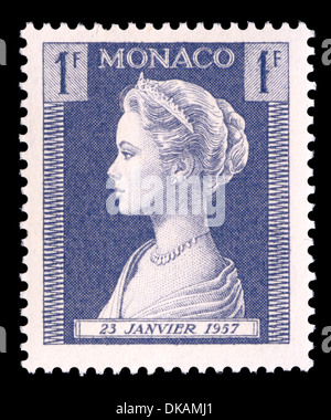 Portrait of Grace Kelly / Princess Grace of Monaco on 1957 Monaco postage stamp - Stock Photo