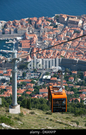 Dubrovnik, Croatia. A view from the cable car looking down onto the old town - Stock Photo