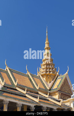 Detail of the Preah Thineang Chan Chhaya or moonlight pavilion, part of the Royal palace complex, Phnom Penh, Cambodia - Stock Photo