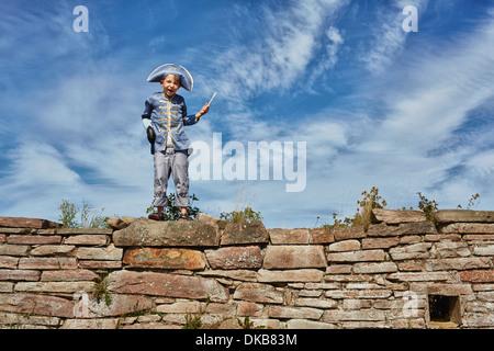 Boy wearing pirate costume, Eggergrund, Sweden - Stock Photo
