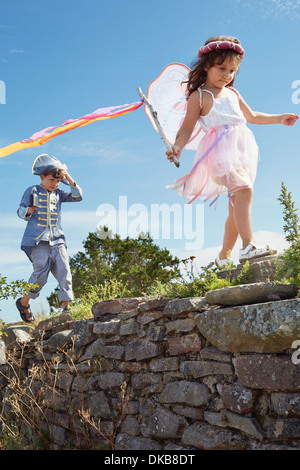 Boy and girl dressed as pirate and fairy, Eggergrund, Sweden - Stock Photo