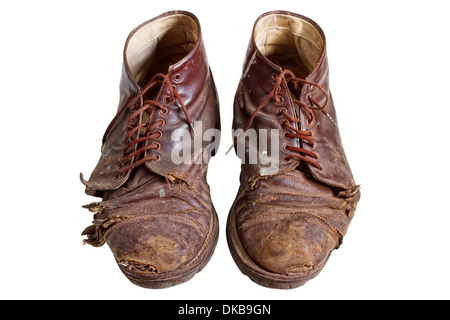 Old worn out boots, isolated on white - Stock Photo