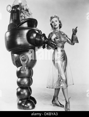 FORBIDDEN PLANET  1956 MGM sci-fi film with Anne Francis as Altaira Morbius and Robby the Robot - Stock Photo