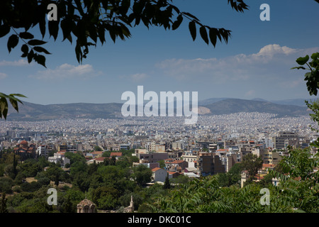 view of Athens from the mountain - Stock Photo