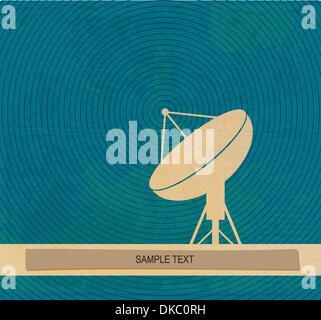 Radar translation. Satellite dishes antena. Retro poster - Stock Photo