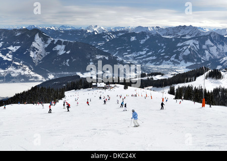 Skiing at  Zell am See, Austrian Alps - Stock Photo