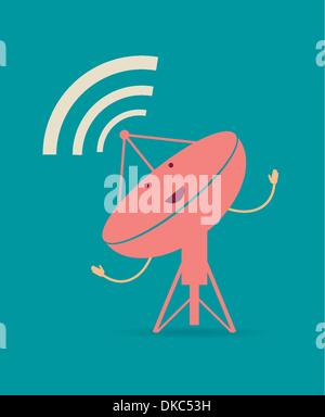 Satellite dishes antena. Retro poster - Stock Photo