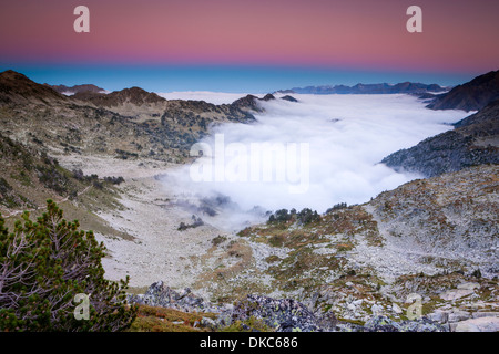View from Hourquette d'Aubert in La Reserva Natural de Néouvielle, French Pyrenees, France, Europe. - Stock Photo