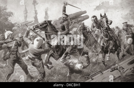 The charge of the 9th Lancers, or Delhi Spearmen, during the great retreat from Mons to Cambrai, during WWI in 1914 - Stock Photo