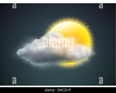 Vector illustration of cool single weather icon - sun with cloud floats in the dark sky - Stock Photo