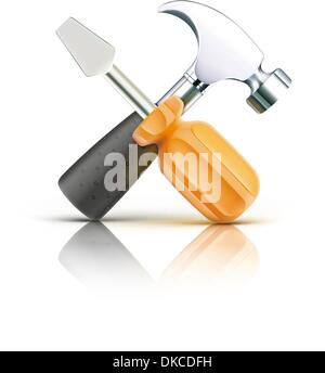 Vector illustration of detailed screwdriver and hammer icon isolated on white background - Stock Photo