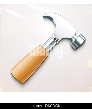 Vector illustration of a single detailed hammer icon - Stock Photo