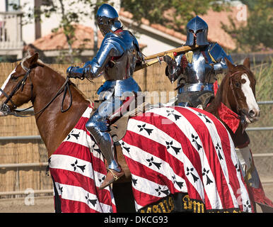 Oct. 23, 2011 - Poway, California, USA -  Knights engage in a mounted battle melee at the Fifth Annual Tournament - Stock Photo