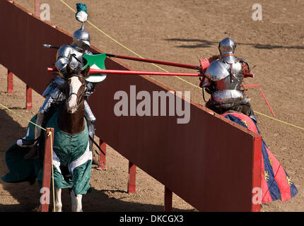Oct. 21, 2011 - Poway, California, USA -  Breakaway lances shatter during the Fifth Annual Tournament of the Phoenix - Stock Photo