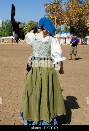 Oct. 21, 2011 - Poway, California, USA -  A falcon flies toward the arm of traner Andrea Ashbaugh during a demonstration - Stock Photo