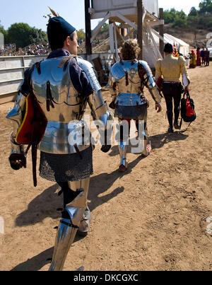 Oct. 21, 2011 - Poway, California, USA -  Knights and their squires make their way to the jousting arena at the - Stock Photo