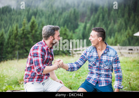 Two male friends shaking hands, Tyrol Austria - Stock Photo