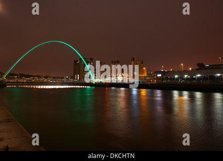 View of millenium bridge at night, Newcastle upon Tyne, United Kingdom - Stock Photo