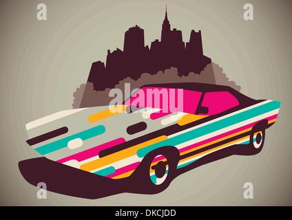 Abstraction with car silhouette - Stock Photo