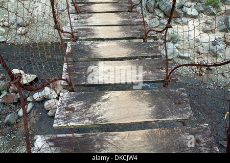 Rickety footbridge over a river near Subic, Luzon Island, Philippines. - Stock Photo