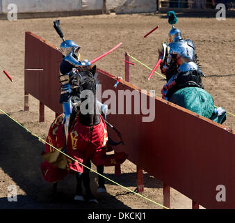 Oct. 23, 2011 - Poway, California, USA -  Breakaway lances shatter into shards as knights engage in a joust at the - Stock Photo