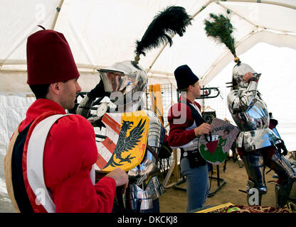 Oct. 23, 2011 - Poway, California, USA -  Knights dress for battle at the Fifth Annual Tournament of the Phoenix - Stock Photo