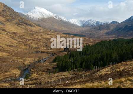 Ladhar Bheinn and upper Glen Guiserein, Knoydart Peninsula, Highland Region, Scotland, UK - Stock Photo