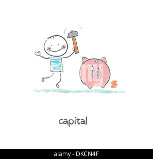 Man breaks piggy bank with a hammer. Illustration. - Stock Photo