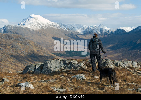 Ladhar Bheinn and upper Glen Guiserein from Meall Gaothar, Knoydart peninsula, Highland region, Scotland, UK. - Stock Photo