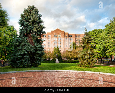 apartment building with small park - Stock Photo