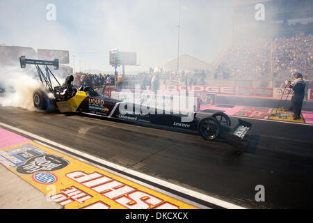 Oct. 29, 2011 - Las Vegas, Nevada, U.S - NHRA Top Fuel driver Ron August Jr. of the Synergyn Fuel Additives Hadman - Stock Photo