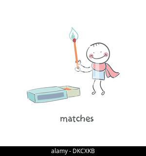 Man and matches box - Stock Photo