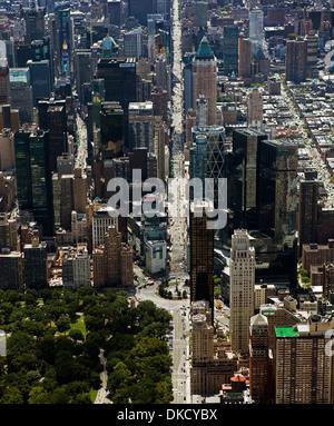aerial photograph Central Park West, Columbus Circle, 8th Avenue, Manhattan, New York City - Stock Photo